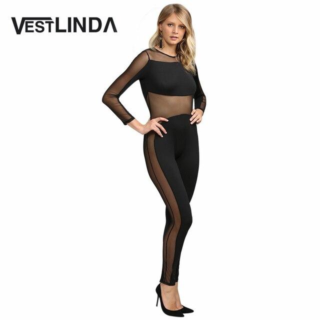 VESTLINDA Sexy Club Mesh See Through Jumpsuit Romper Women Long Sleeve Slim Black Women Party Bodycon Jumpsuits 2016 Ropa Mujer