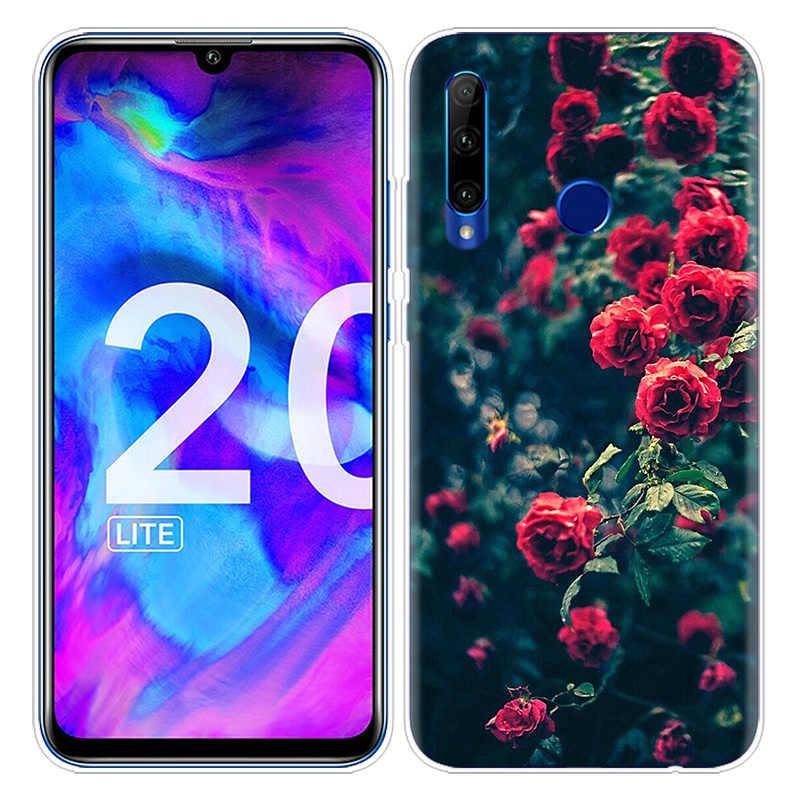 Beau Rouge Roses Fleurs étui pour huawei Honneur 8X 8C 8 9 10 20 Jouer 8A lite Pro V20 Y9 Y7 Y6 Y5 Premier 2018 2019 TPU Téléphone Sac