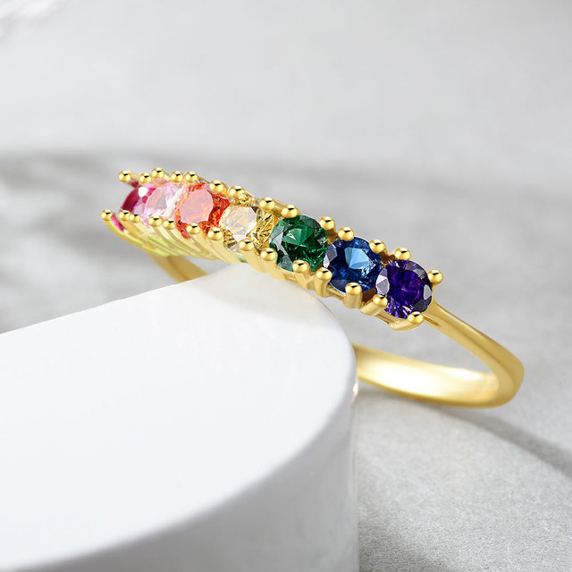 925 Sterling Silver Rainbow Rings for Women 14K Gold Plated with Colorful Gemstones