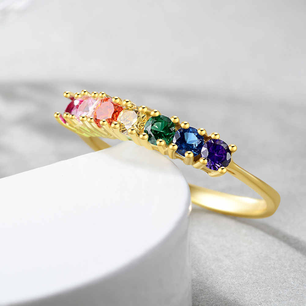 E 925 Sterling Silver Rainbow Rings for Women 14K Gold Plated Wedding Engagement Colorful Gemstones Ring Silver 925 Jewelry 2019