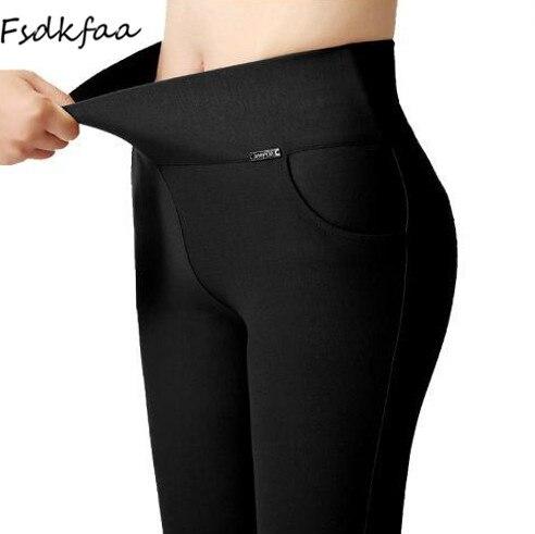 FSDKFAA 12 Colors High Waist Leggings Women Plus Size 6XL Slim Elastic Stretched Bodycon Leggings Office Lady Trousers