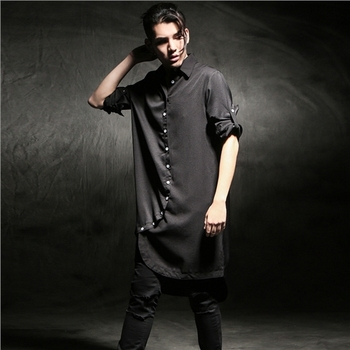 M-6XL!Spring and summer men's clothing asymmetrical front fly ultra long shirt male loose long-sleeve shirt male outerwear