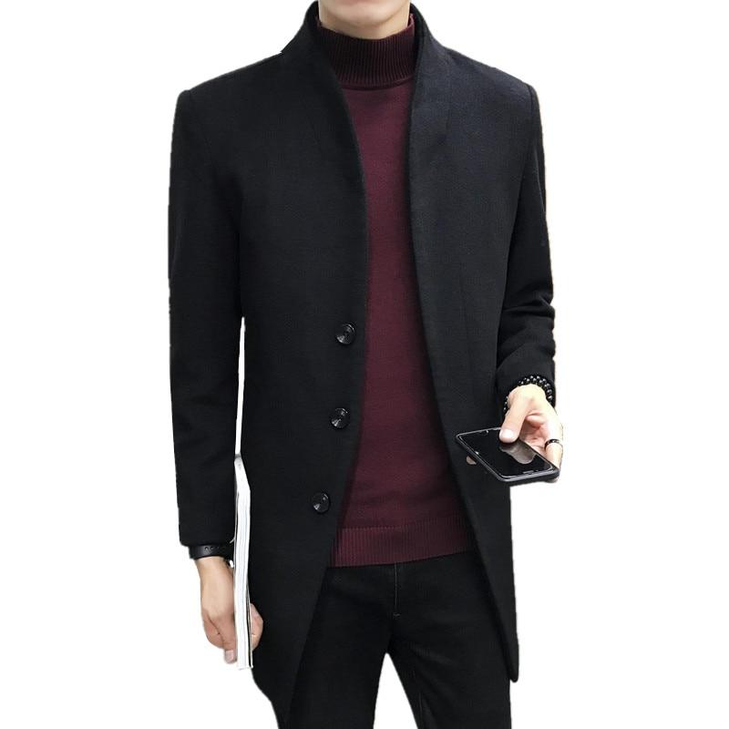 2018 Herbst Winter Mode Neue Männer Casual Woll Windjacke/männer Einfarbig Wolle Blends Mantel Graben Jacke