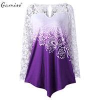 Gamiss Women Lace T Shirts Plus Size Casual Hollow Out Spring Long Sleeve Tees Female Loose