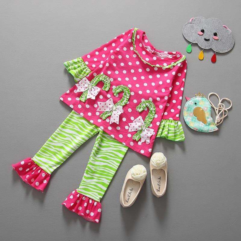 2016 fashion autumn boutique outfits sets 2pcs children stripes girls christmas long sleeve tops ruffle pants suits