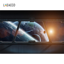 Laeacco Spaceship Interior Planets Fantasy Scene Photography Backgrounds Customized Photographic Backdrops For Photo Studio