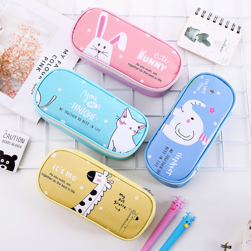Cartoon Multifunction School Pencil Case & Bags Large Leather Pen Curtain Box For Boy Girl Kids Gift Stationery Supplies