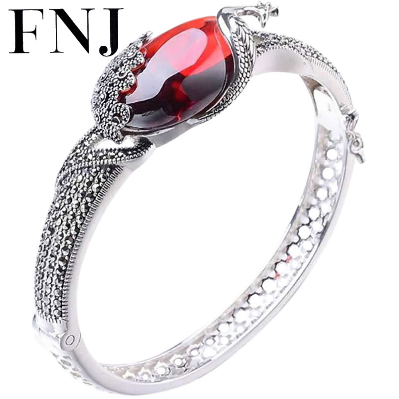 GZ Natural Yelllow Stone Bangle peacock MARCASITE 925 Sterling Silver Oval Red Stone S925 Thai Silver Bangles for Women Jewelry bangle