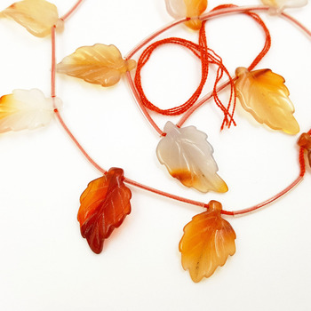 Lii Ji Natural Stone Carnelian Leaf Loose Beads 12x22mm For DIY Jewelry Making Braceet Necklace approx 15 pcs