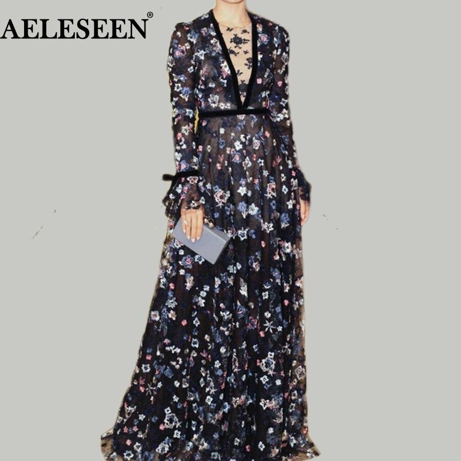 Luxury Maxi Long Black Dress Elegant Women Runway Fashion Bow Full Flare Sleeve V-Neck Trim Flower Sexy Embroidery Long Dress
