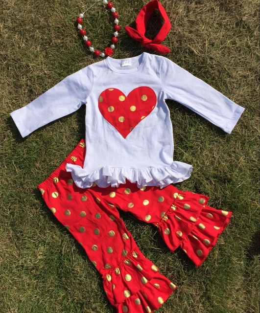 baby clothes children fall boutique outfits heart top sets red white Gold point ruffle pants sets with headband and necklace