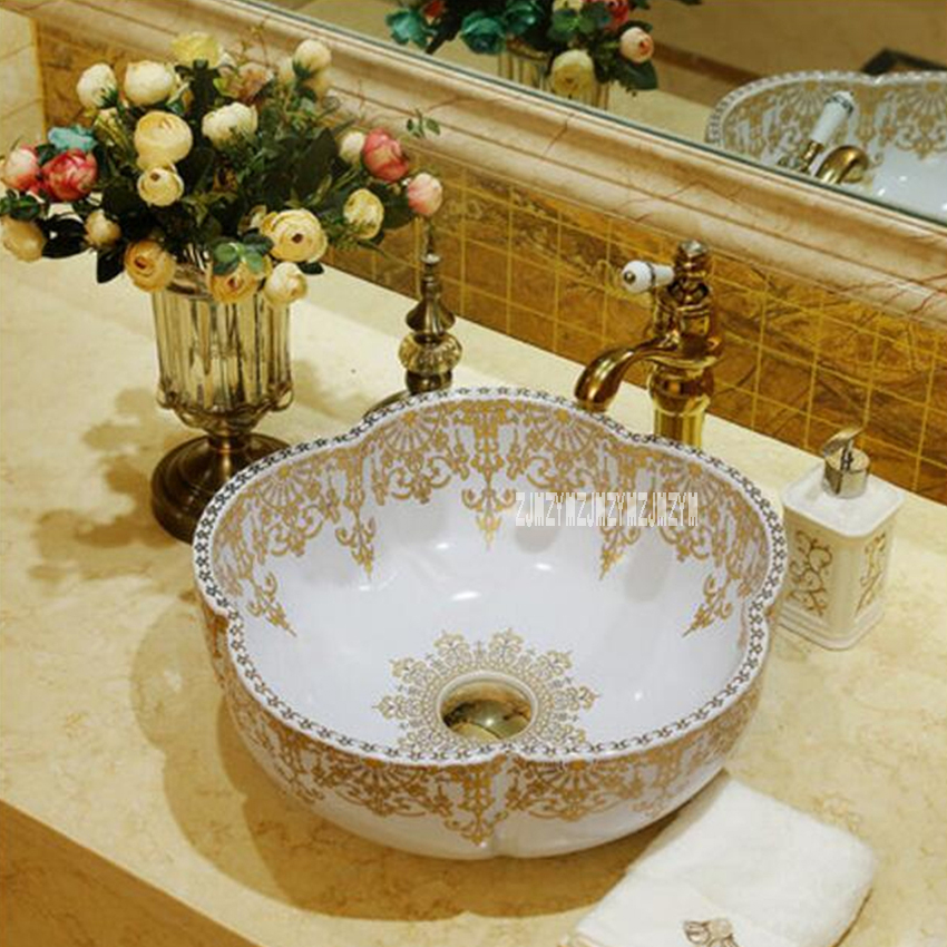 Européenne-style Comptoir Évier de Haute Qualité Artistique Fleur Forme Lavabo Ménage Luxueux Lavabo En Céramique Salle De Bains Évier