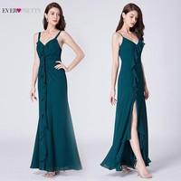 Teal Bridesmaid Dresses Long Ever Pretty New Arrival V neck Leg Slit A line Sleeveless Backless Wedding Guest Prom Party Gowns