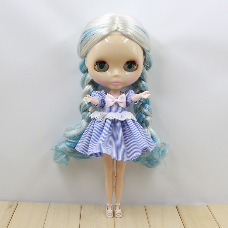 Neo Doll Blyth Blue and White Long Straight Hair Nude Dolls For Sale толстовка mazine male half zip hoody 01 neo blue mel neo gr m