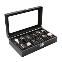 Black High-Grade 12 Slot Luxury Carbon Fiber Display Design Jewelry Display Watch Box Storage Holder Large Glass Window