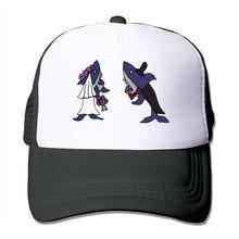 Dutrodu para hombres mujeres Gorras de béisbol meshback casquette tiburón  novia y el novio de la boda SnapBack hip hop sombrero . d797425632a