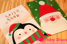 200pcs Christmas Santa Claus and Fat Penguin Design Gift Food Plastic Bags Cute Small Biscuit Bag Party Favor Cellophane Bags(Hong Kong)