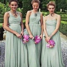 Sexy Sleeveless Floor Length Long Chiffon Sage Green Bridesmaid Dresses Vestido Noivado Vestido De Festa Casamento Vestido Festa