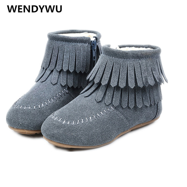 fc2fc3577 WENDYWU winter kids snow boots lambswool zip girls&boys boots fringe  leather shoes princess warm boots size21-30 blue brown rose