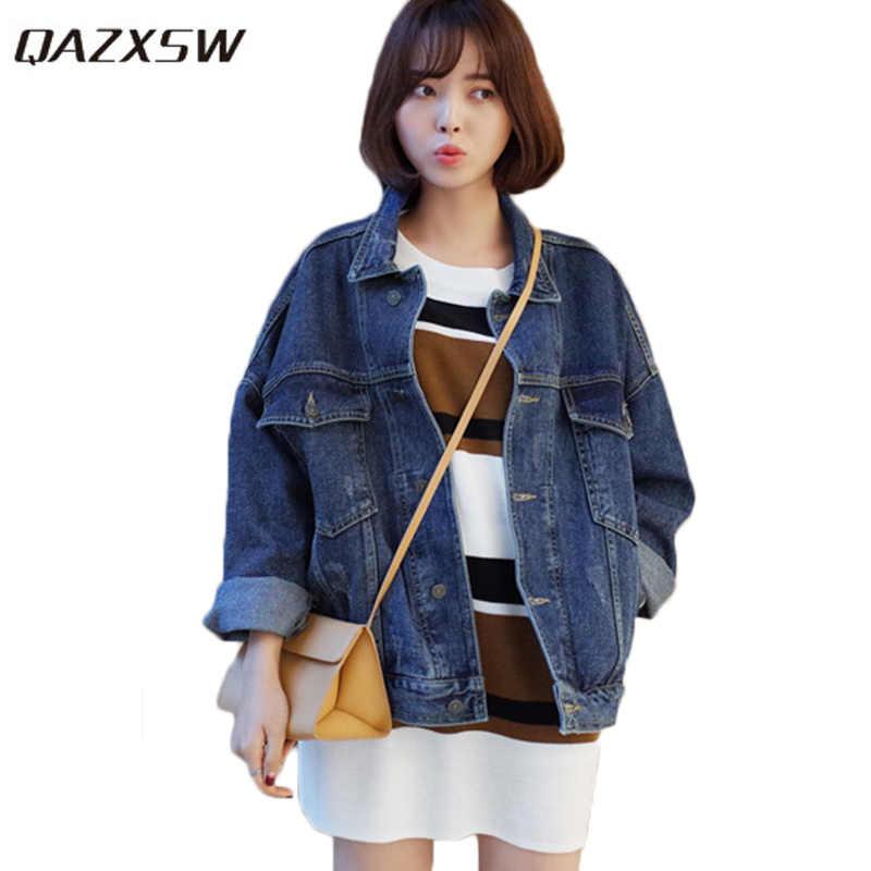 Qazxsw Винтаж Для женщин джинсовая куртка Большие джинсы пальто Для женщин  Свободные Курточка бомбер рукав