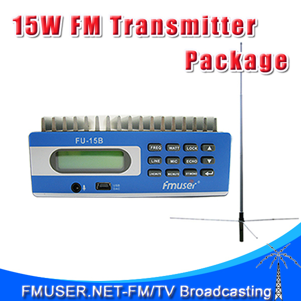 New! FMUSER CZH Transmitter SDA-15B FM transmitter PC Control Temperature&SWR Protection+1/2 wave GP antenna+power supply