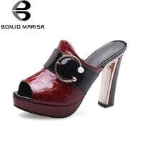 BONJOMARISA Women S Square High Heels Peep Toe Platform Summer Shoes Woman Buckle Mules Slippers Size