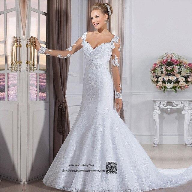 Vintage Spitze Langarm Hochzeit Kleid Türkei Vestido de Noiva Manga ...