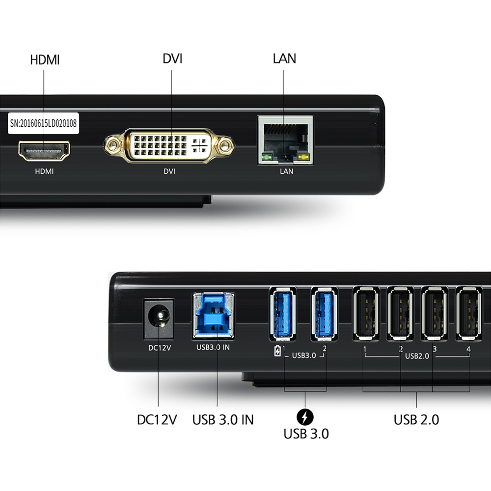 Wavlink USB 3,0 Universal Dual Display Docking Station soporte HDMI/DVI/VGA con 6 puertos USB externo Gigabit Ethernet HD 1080 p - 2