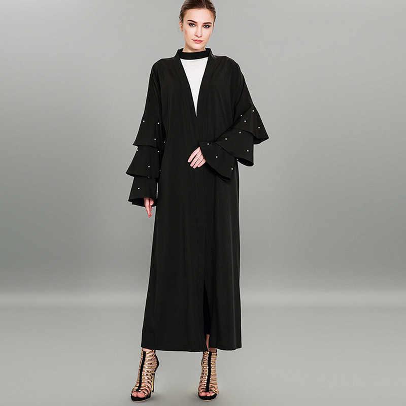 c53f0ffc2c ... Abayas For Women 2019 UAE Abaya Kimono Dubai Kaftan Turkish Islam Qatar  Pearls Cardigan Muslim Hijab ...