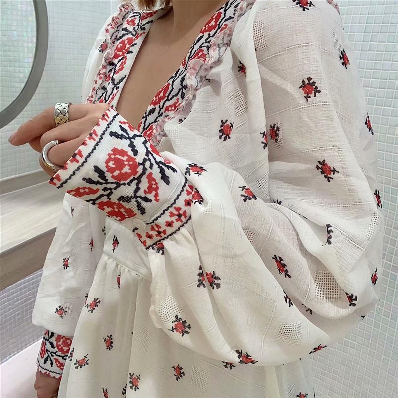 KIYUMI Boho <font><b>Dress</b></font> Women's Floral Print <font><b>Dress</b></font> Lace Up Long Sleeve Retro Palace <font><b>Open</b></font> <font><b>Back</b></font> Vestido Autumn White Cotton Sexy <font><b>Dresses</b></font> image