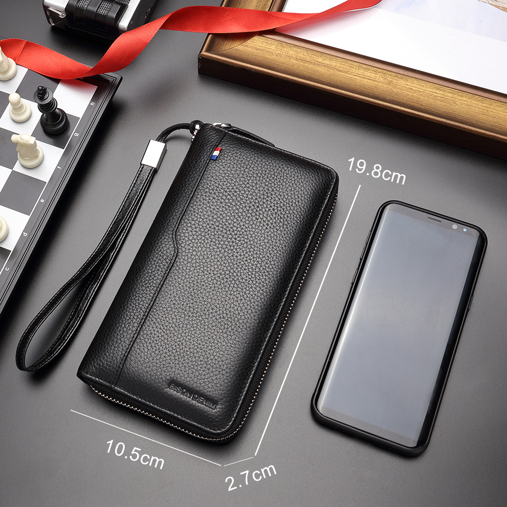 BISON DENIM 100% Cow Leather Clutch Wallets for Men RFID Blocking Card Holder Wallet Coin Purse Long Phone Wallet W8226
