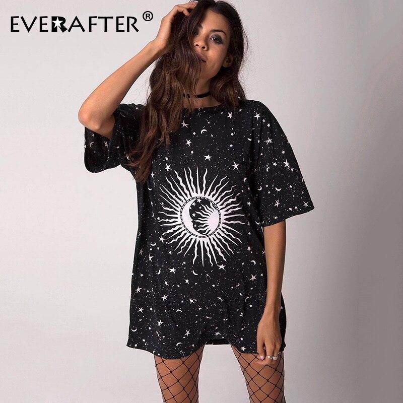 EVERAFTER Fashion Sun Print T Shirt Women Short Sleeve Loose Casual Tops Tees Harajuku Funny Tshirts Elasticity 2019 Summer Hot