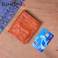 EUMOAN Small thin wallet male short section of youth simple vintage wrinkle leather wallet ladies wallet leather soft wallets