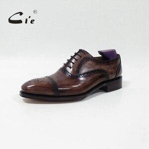Image 2 - cie Bespoke Handmade Semi brogue Medallion Square Toe 100%Genuine Calf Leather Mens Dress Oxford Goodyear Welted Men Shoe OX 09