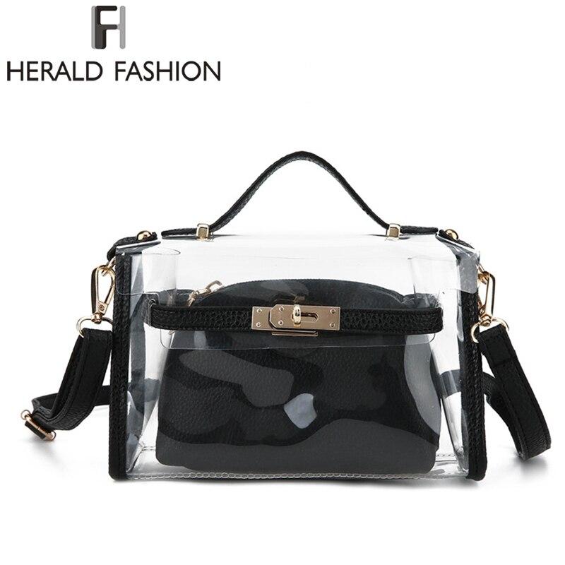 Herald Fashion Women Clear Transparent Shoulder Bags 2pcs Summer Beach Female Handbag Ladys Messenger Bags Bolsa Feminina