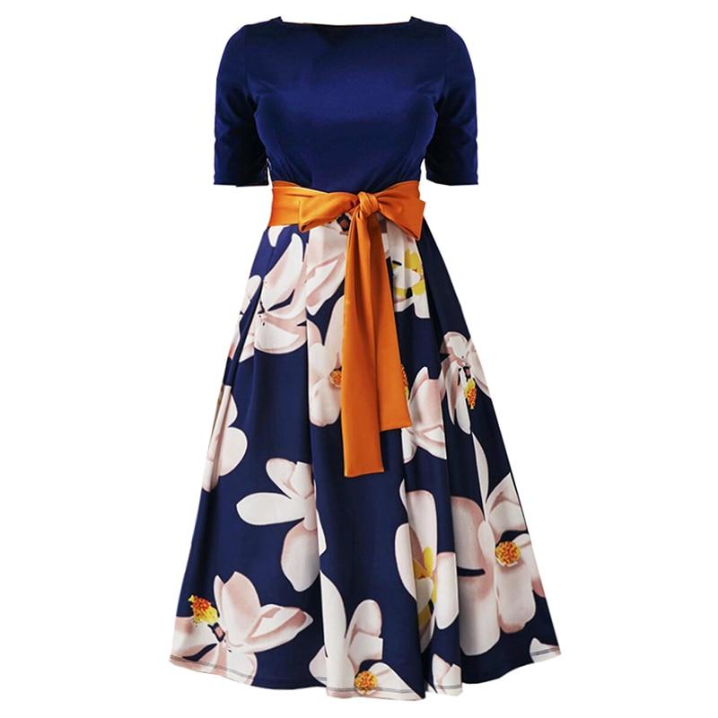 Kinikiss 2018 summer women dress trumpet dark blue ribbon print floral vintage dress patchwork elegant fashion new casual dress