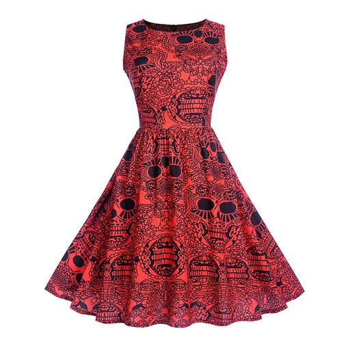 2019 new sleeveless women's dress print women's slim fashion pleated dress