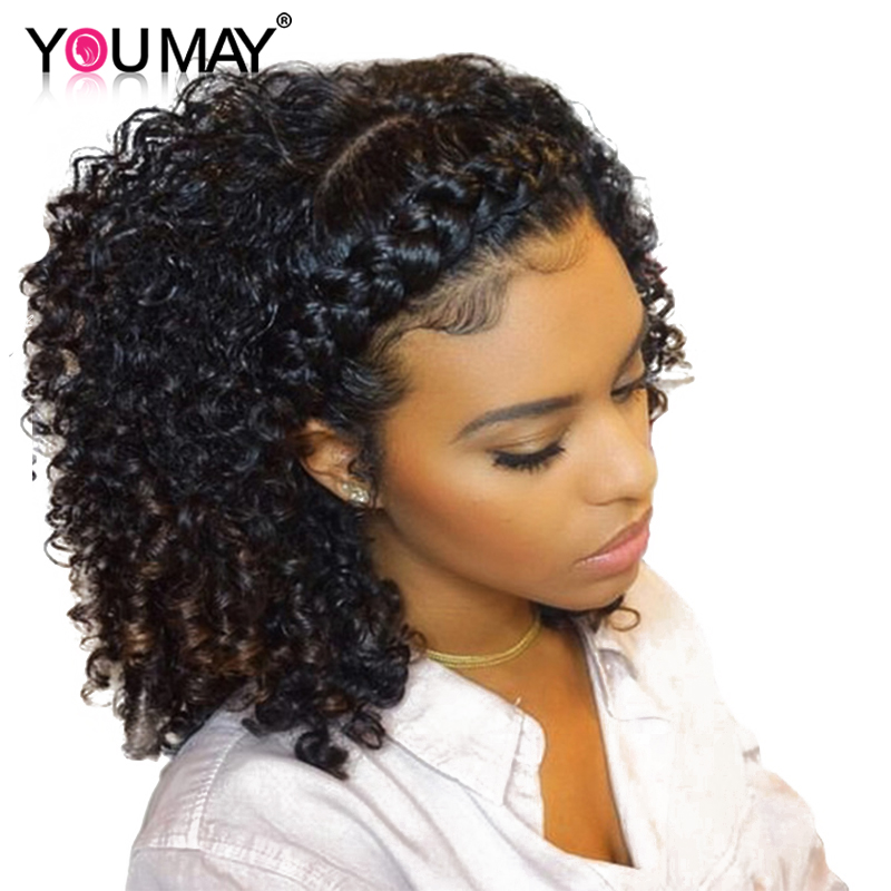 360 Lace Frontal Wigs Pre Plucked Baby Hair 180 Density Peruvian Curly Lace Front Human Hair Wigs For Women Remy You May Hair