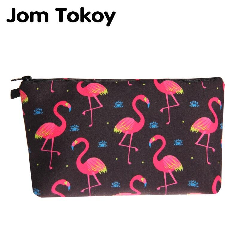 Jom Tokoy Cosmetic Bag Fashion Women Brand makeup bag 3D Printing Black bottom Flamingos cosmetic organizer bags jom tokoy 3d printing unicorn makeup bags multicolor pattern cute women cosmetic bag