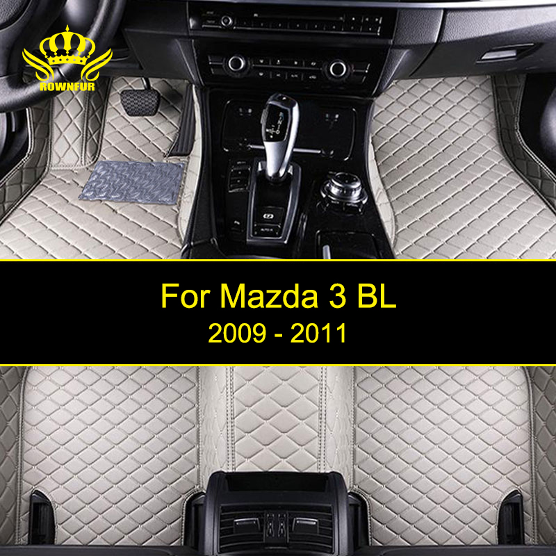 ROWNFUR Car Floor Mats For Mazda 3 BL 2009-2011 Years Waterproof Custom Leather Floor Mat Car-styling Interior Car Carpet Mat custom cargo liner car trunk mat carpet interior leather mats pad car styling for dodge journey jc fiat freemont 2009 2017