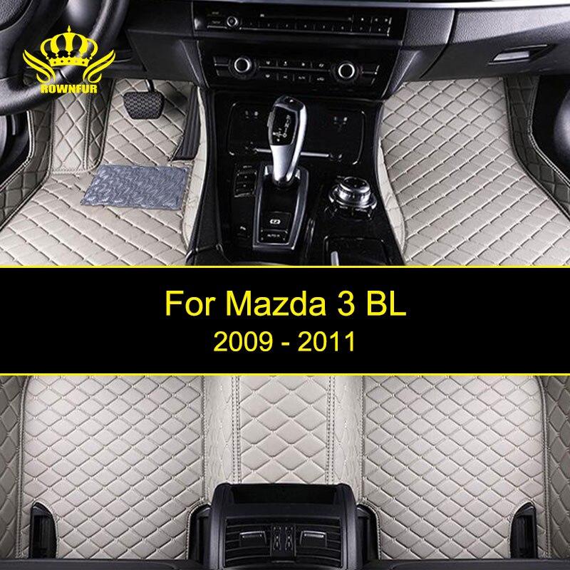 ROWNFUR Car Floor Mats For Mazda 3 BL 2009-2011 Years Waterproof Custom Leather Floor Mat Car-styling Interior Car Carpet Mat customs car floor mat leather waterproof front