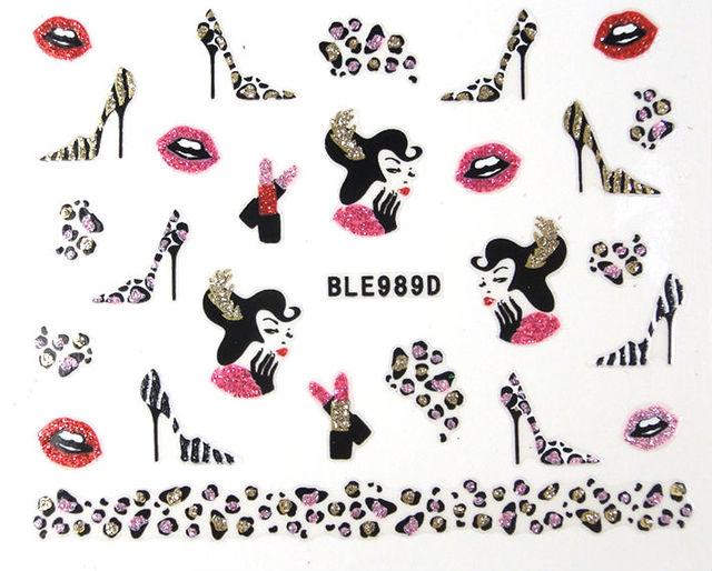 Discount!! 18 Styles Glitter Leopard Print Lip Minx Nail Art 3D Stickers 30 Sheets/lot Free Shipping