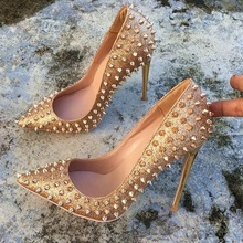 Gold Bling Rivets High Heel Pumps Sexy Shallow Women Shoes Fashion Pointed Toe Thin Heels Shoes Spring Autumn Wedding Shoes все цены