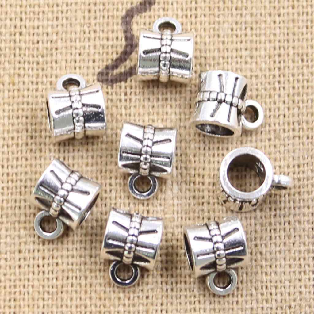 15pcs 10x7x7mm necklace bracelet  link 4.5mm Big Hole Bead Antique Silver Beads Charms Fits Diy Charms Bracelet Jewelry Beads