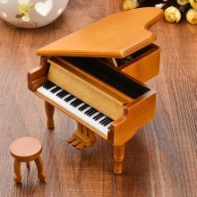 SENRHY Burlywood Color Piano Wooden Music Box 18 Tones Grand with Stool For Musical Instruments Lover Gifts Classical Music Case