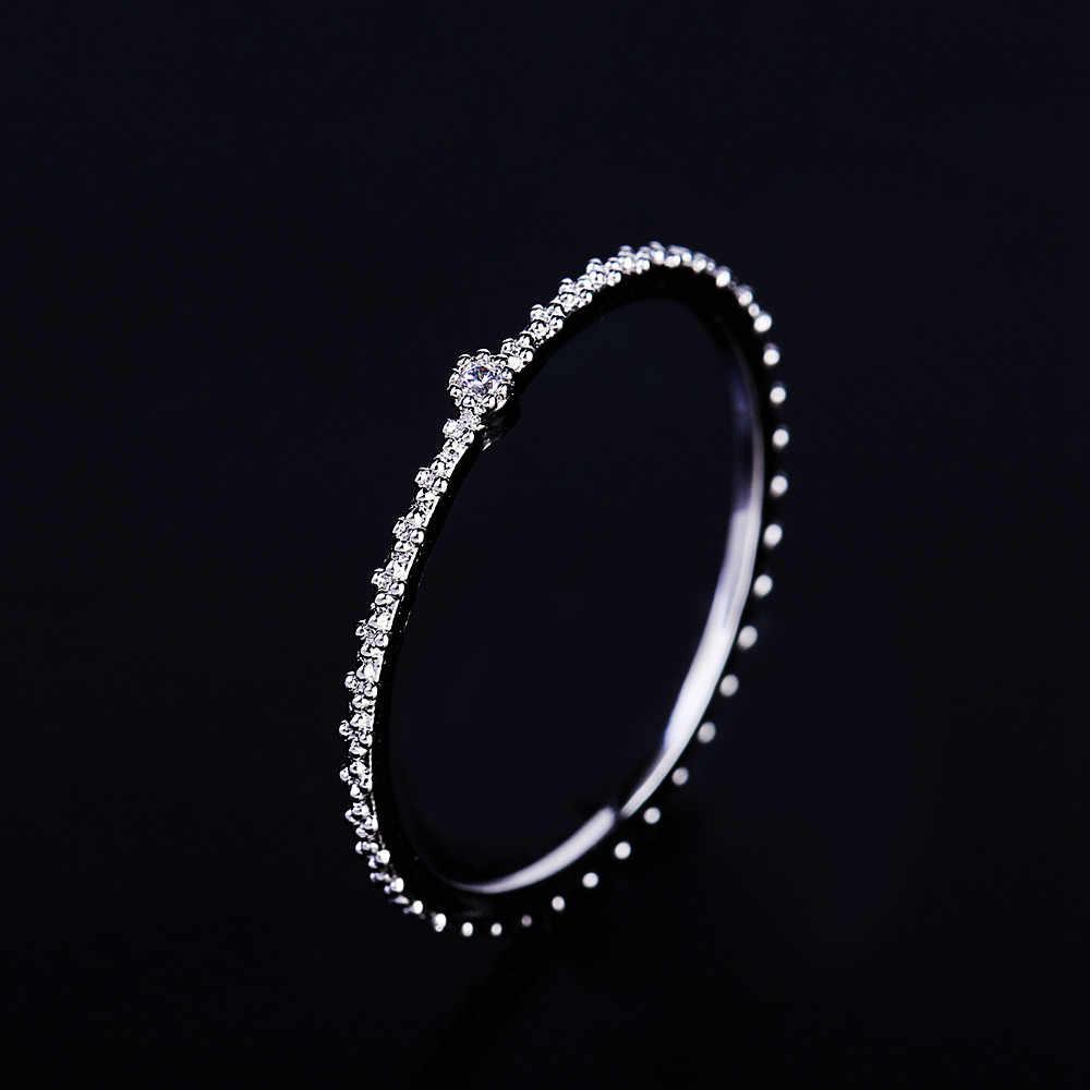 MIGGA délicate petite Bague en cristal Zircon cubique couleur or Rose Bague mince pour les femmes Bague de mode