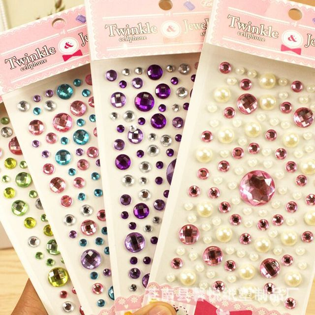 2019 Children's diamond stickers DIY three-dimensional decoration hand-paste crystal acrylic mobile phone gem stickers