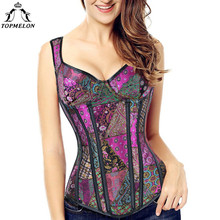 TOPMELON Gothic Steampunk Steel Boned Corset with Strap Bustier Women Corselet Sexy Retro Slim Floral Lace Up New Tops 6XL