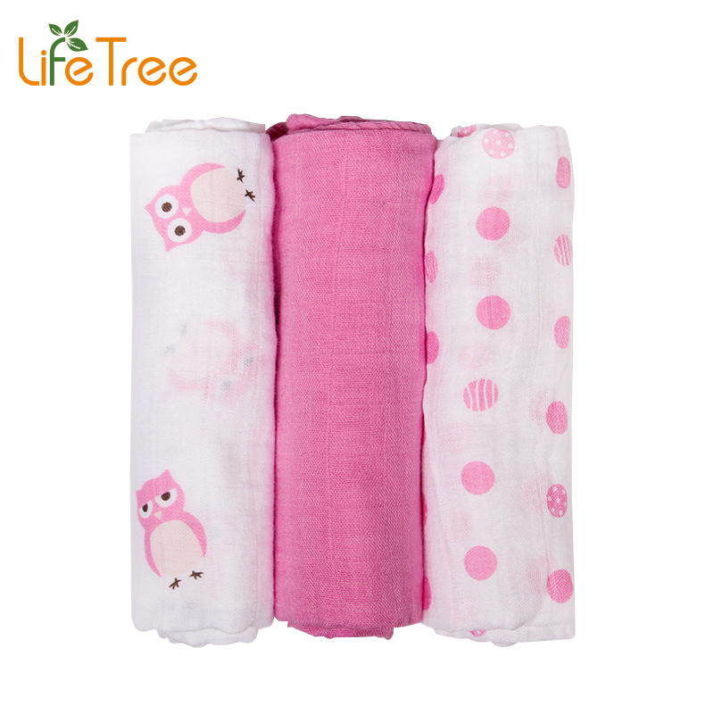 3Pcs Set 70 70cm Muslin Cloth Cotton Newborn Baby Swaddles Baby Blankets Double Layer Gauze Bath