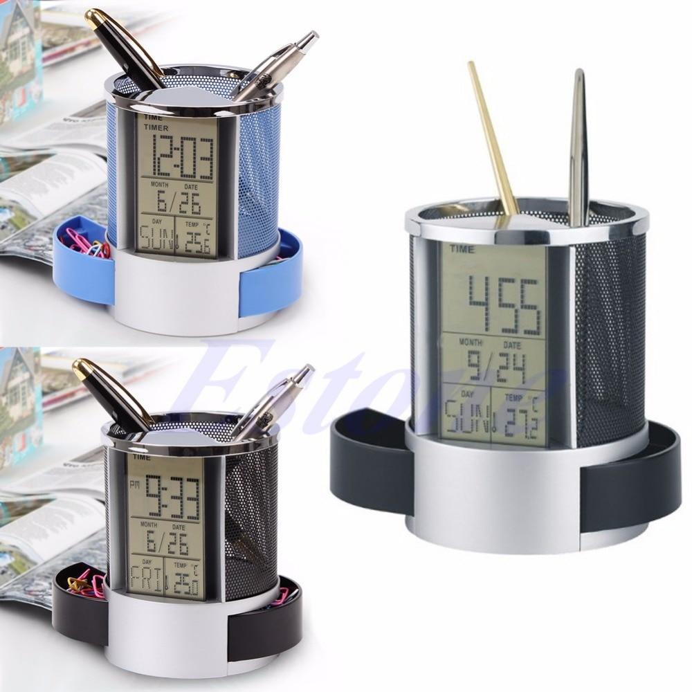 Mesh Pen Pencil Holder with Digital LCD Office Desk ALarm Clock with Time Temp Calendar function 2 PCS twist button batteries bag khs075vg1ba g83 38 29 lcd calendar